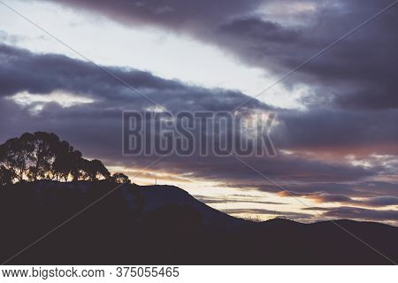 Sunset Sky With Beautiful Clouds Over The Hills Of Tasmania