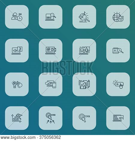 Seo Icons Line Style Set With Creative Idea, Cloud Computing, Search Time Schedule And Other Melody