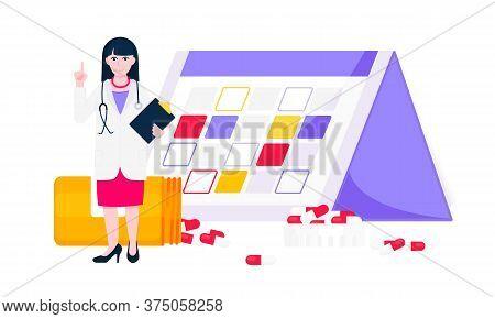 Medicine Schedule Or Medical Reminder Planner Flat Style Design Vector Illustration With Date Calend
