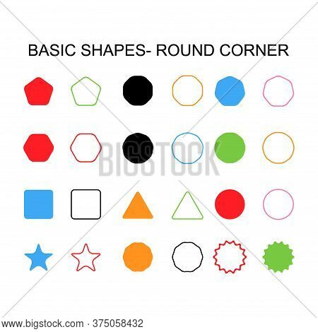 Basic Shapes - Round Corner Set Icon, Vector Geometrical Collection. Vector Illustration Sign Isolat