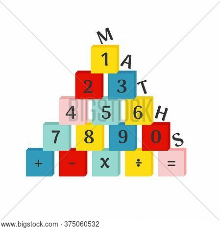Colorful Numbers From 0 To 9 With Mathematical Operations On Blocks. Vector Illustration On White Ba