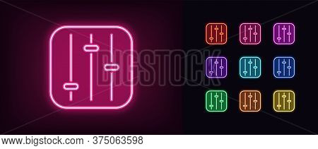 Neon Settings Panel Icon. Glowing Neon Customization Sign, Set Of Isolated Control Panel In Vivid Co
