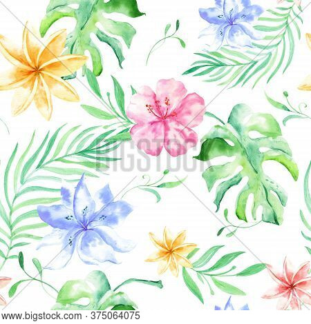 Watercolor Tropical Palm Leaves Seamless Pattern. Tropical Palm Leaves, Jungle Leaf Seamless Floral