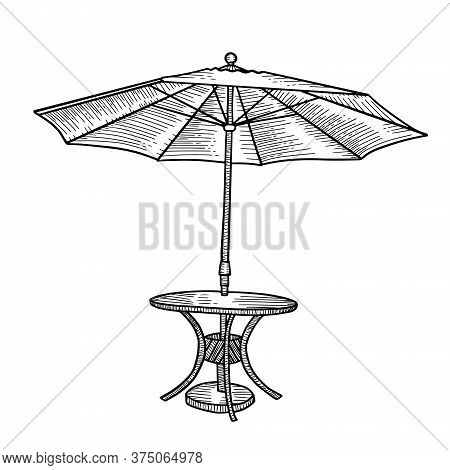 For An Outdoor Coffee Table With An Umbrella. Open Parasol Tent With Round Table. Hhand Drawn Sketch