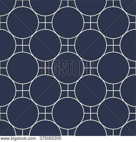 Decorative Seamless Ornamental Vector Pattern. Geometric Oriental Design. Eastern Repeatable Blue Ba