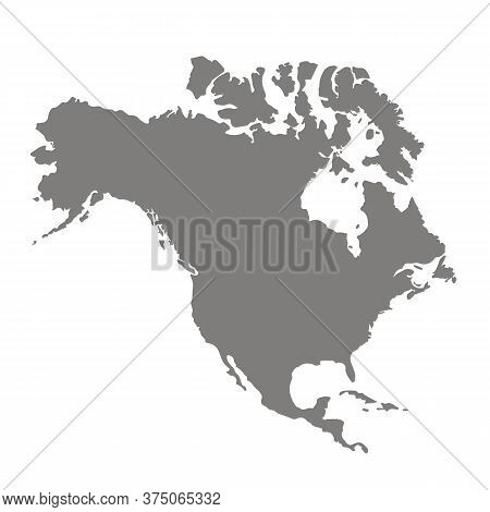 Silhouette Map Of North America. Abstract Continent Outline Map. Grey Background Region America. Vec