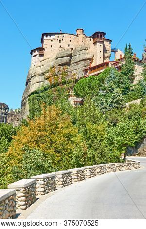 Highway leading to The Monastery of Rousanou in Meteora,  Greece