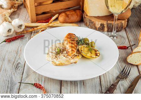 Gourmet Dish Grilled Salmon Steak Potato Gratin, Horizontal