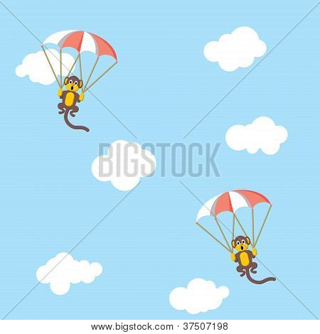 Monkeys with parachutes flying in the sky poster