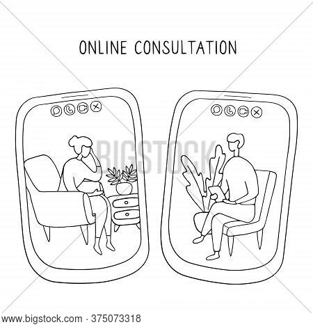 Woman At The Psychologist Online Session. Doctor Consultation By Phone. Video Call To Psychiatrist.