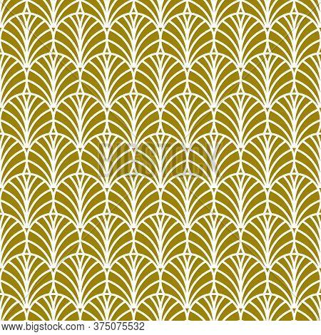 Golden Fan Art Deco Pattern, Abstract Seamless Art Nouveau Pattern With Fans, Retro Background