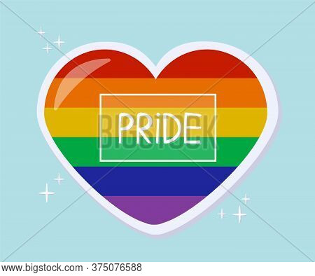 Pride Heart Sticker. Lgbt Pride Month In June. Lesbians, Gays, Bisexuals, Transgender People. Lgbt F