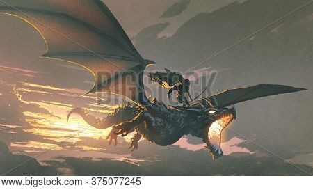 The Black Knight Riding The Dragon Flying In The Sunset Sky, Digital Art Style, Illustration Paintin