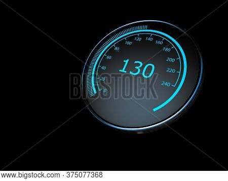Close Up Of Car Speedometer, Abstract Technology Drive Panel