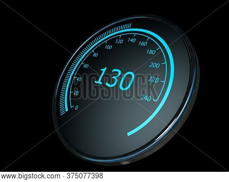 Close Up Of Car Speed Meter, Abstract Technology Drive Panel