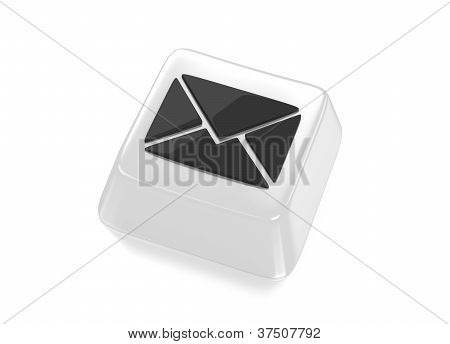 E-mail Envelope Icon In Black On White Computer Key.