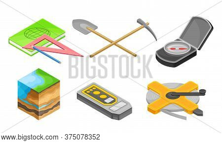 Geology Measurement Instruments With Soil Cross Section And Prospecting Hammer Vector Set