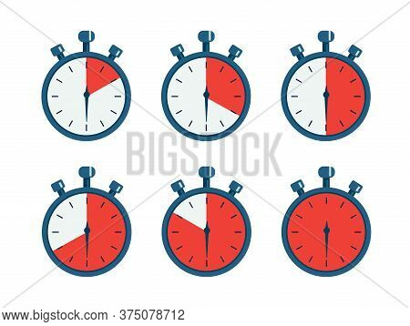 Set Of Timer Isolated On White Background. Timer, Clock, Stopwatch Icons. Label Cooking Time.  Vecto