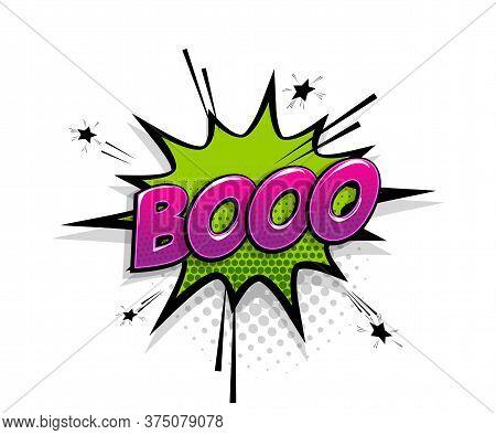 Comic Text Boo On Speech Bubble Cartoon Pop Art Style. Colorful Halftone Speak Bubble Cloud Backgrou