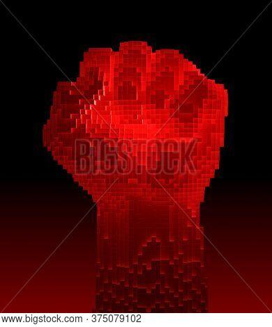 Red-hot Fist Upward Consisting Of 3d Pixels. 3d Illustration.
