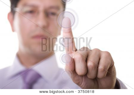 Businessman Pressing A Button