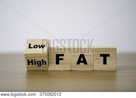 Wooden Cube Block Flipping Change From High Fat To Low Fat. Diet And Good Health Condition.