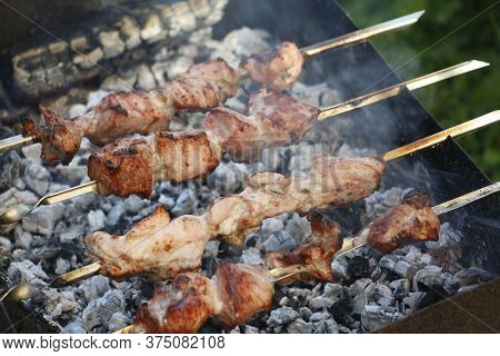 Cooking Barbecue Skewers. Marinated Kebab Is Grilled On Charcoal. Shish Kebab Barbecue Was Made Of L