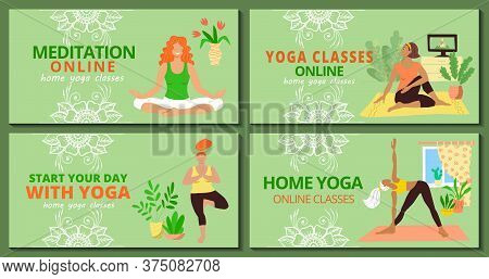 Banner For Web Page Templates Set. Meditation And  Yoga Classes Online Advertising. Girls In Tracksu