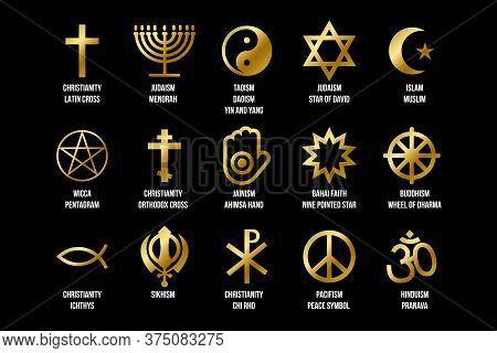 Set Of Religious Signs. Icons For Religion Faith