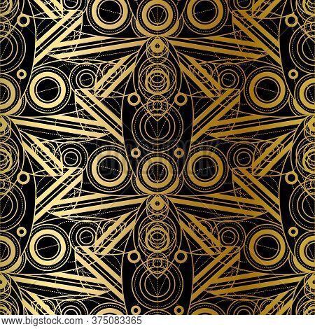 Vector Golden Geometric Gradient Seamless Pattern Design