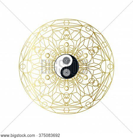Shiny Golden Mandala With Yin Yang Sign Isolated