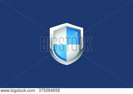 Realistic Protected Shield.conceptual Vector Illustration In Flat Style Design.isolated On Backgroun