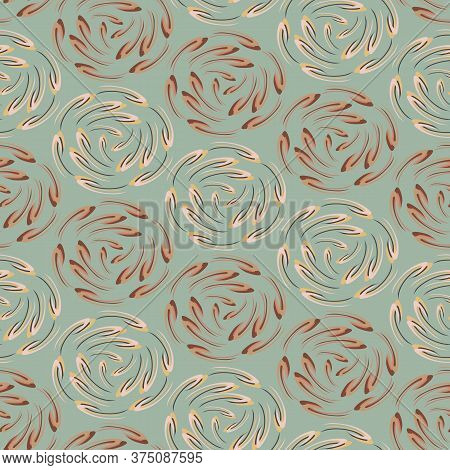 Sage Brown Floral Daisy Background. Seamless Retro Bloom Vector Pattern. Stylized Drawn Vintage Flow