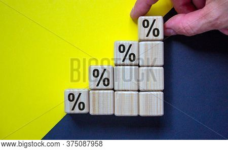 Business Concept Growth Success Process. Close Up Man Hand Arranging Wood Block With Percent Sign St