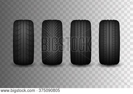 Rubber Collection For Cars With Different Types Of Patterns. Advertising For Tire Fitting. Rubber Ti