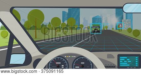 Car Interior. Modern Car Interior With Steering Wheel And Display. Ai Autopilot View On Screen Inter
