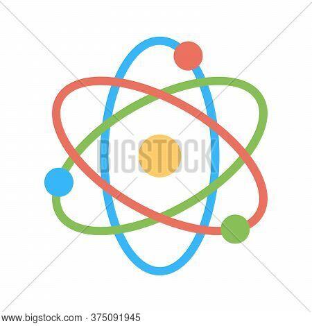 Atom Icon. Physics Atom Model. Nucleus, Proton, Electron Illustration. Nanotechnology Symbol.