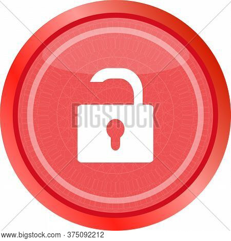 Open Lock Glossy Button Isolated Over White Background. Open Lock. Lock Icon. Isolated On White Icon