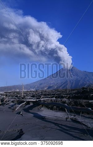 Eruption Of Mount Merapi From Close Range. Mount Merapi Is Located In Central Java