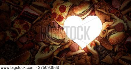 Junk Food Heart And Eating Fatty Food And Unhealthy Diet Health Concept With A Group Of Greasy Fast