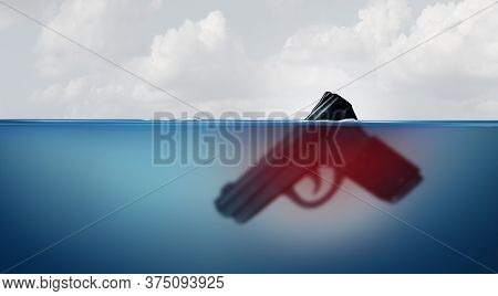 Gun Risk Concept As A Giant Firearm Submerged In Water As A Police Or Military Symbol For Guns And V