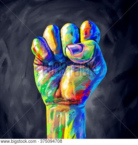 Justice Abstract Concept As A Fist Painted In Diverse Colors Representing Diversity And Power Of The