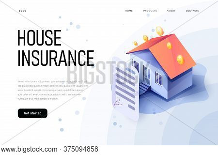 Isometric Property Insurance Concept Of Illustration. Home Insurance Isometric. House And Insurance