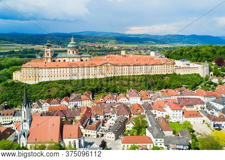 Melk Abbey Monastery Aerial Panoramic View. Stift Melk Is A Benedictine Abbey In Melk, Austria. Mona