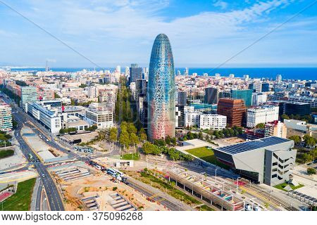 Barcelona Aerial Panoramic View. Barcelona Is The Capital And Largest City Of Catalonia In Spain.