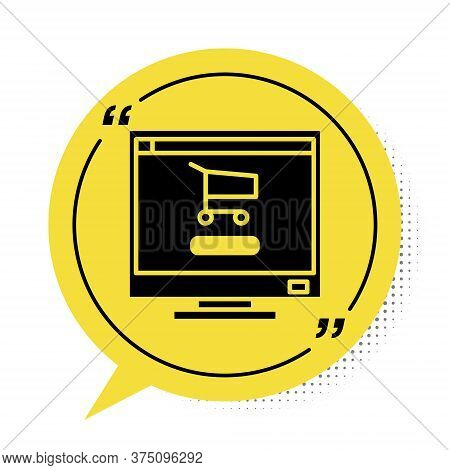 Black Shopping Cart On Screen Computer Icon Isolated On White Background. Concept E-commerce, E-busi