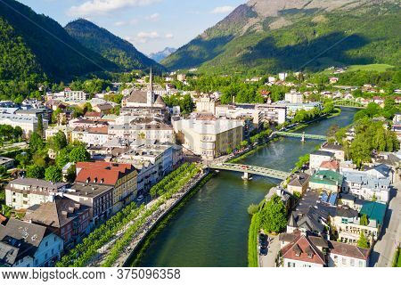 Bad Ischl Aerial Panoramic View, Austria. Bad Ischl Is A Spa Town In The Centre Of The Salzkammergut
