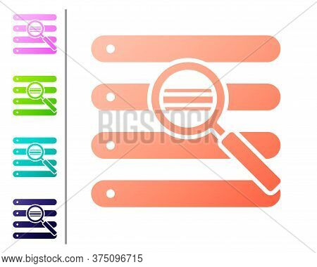 Coral Search In A Browser Window Icon Isolated On White Background. Set Color Icons. Vector Illustra