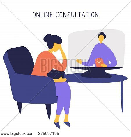 Woman Sitting In Chair In Front Of Computer And Talking To Psychologist Online. Remote Psychological