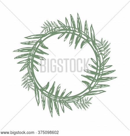 Tropical Twigs In A Circle And Place For Text. Stylized Tropical Leaves In A Circle - Illustration I